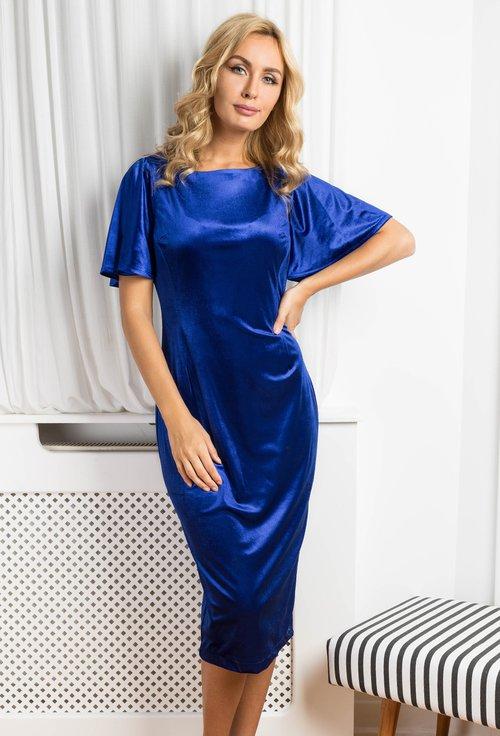 Rochie din catifea, nuanta albastru-regal Catherine