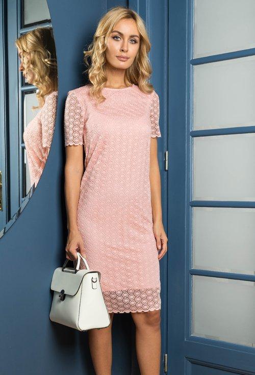 Rochie din dantela roz piersica Alia