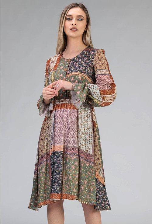 Rochie din vascoza cu imprimeu floral colorat