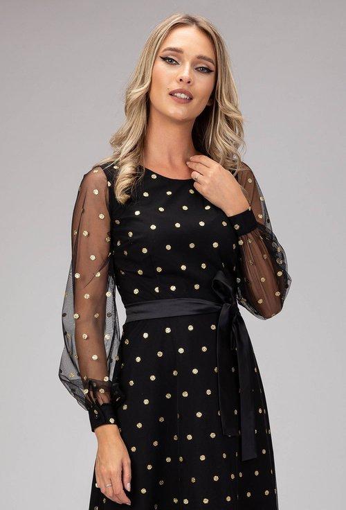 Rochie eleganta cu buline sclipitoare aurii