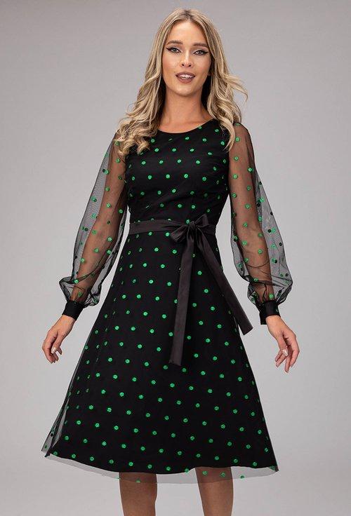 Rochie eleganta cu buline sclipitoare verzi