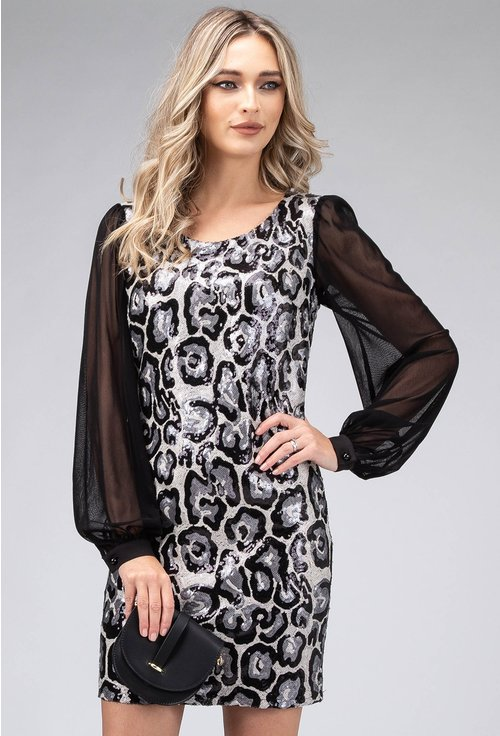 Rochie eleganta cu maneci vaporoase si paiete