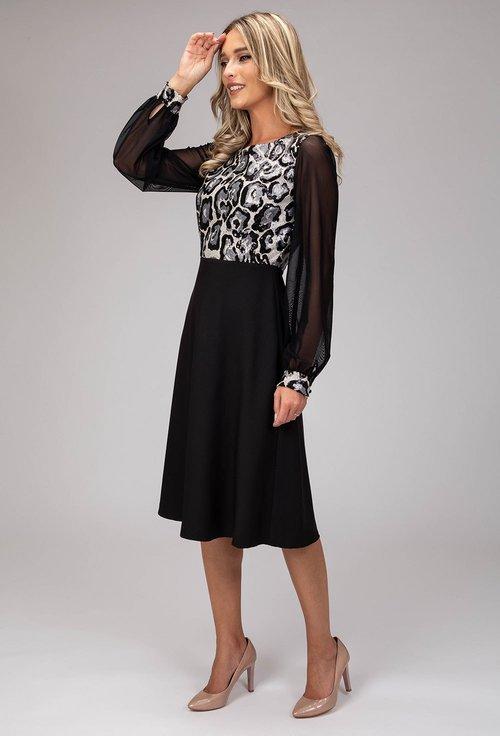 Rochie eleganta cu model animal print din paiete aplicate