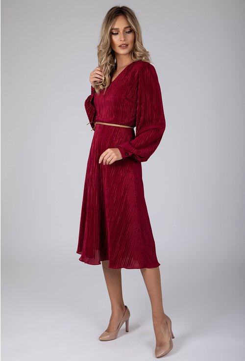 Rochie eleganta grena din material plisat