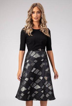 Rochie eleganta gri cu negru prevazuta in talie cu o curea