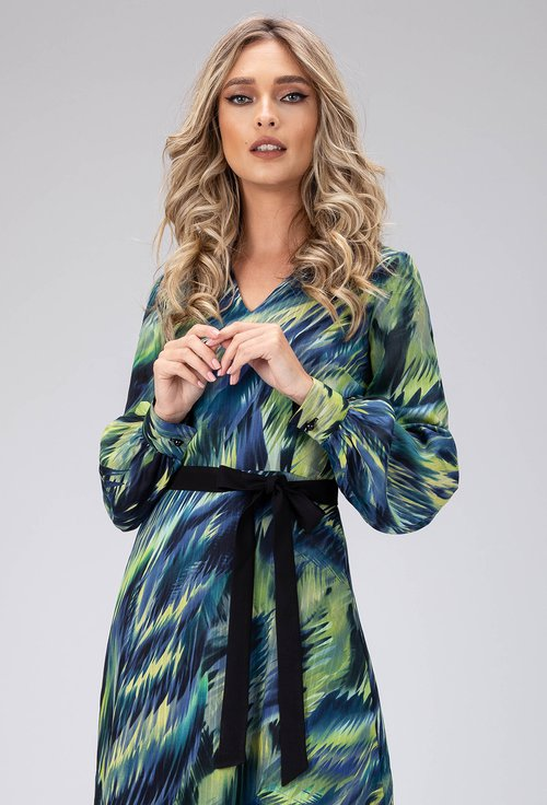 Rochie eleganta in nuante de albastru si verde
