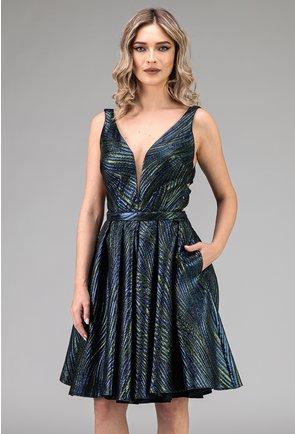 Rochie eleganta in nuante de verde si albastru