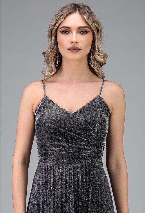 Rochie eleganta lunga argintie cu bretele