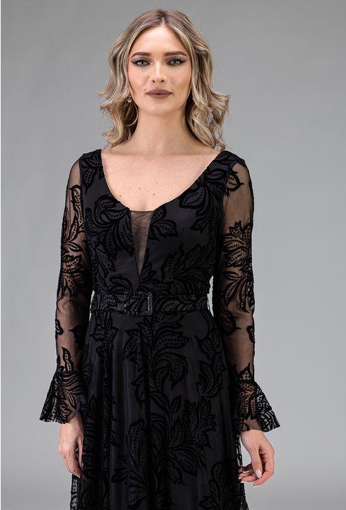 Rochie eleganta lunga cu maneci lungi si detalii florale