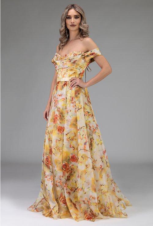 Rochie eleganta lunga galbena cu imprimeu floral