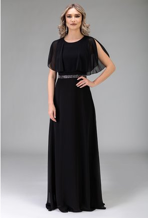 Rochie eleganta lunga neagra cu strasuri in zona taliei
