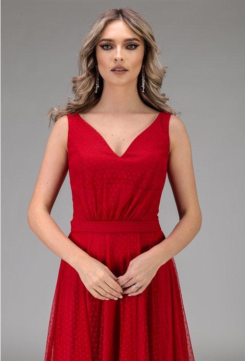 Rochie eleganta lunga rosie
