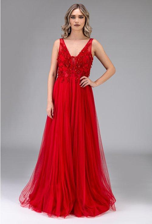 Rochie eleganta lunga rosie cu strasuri