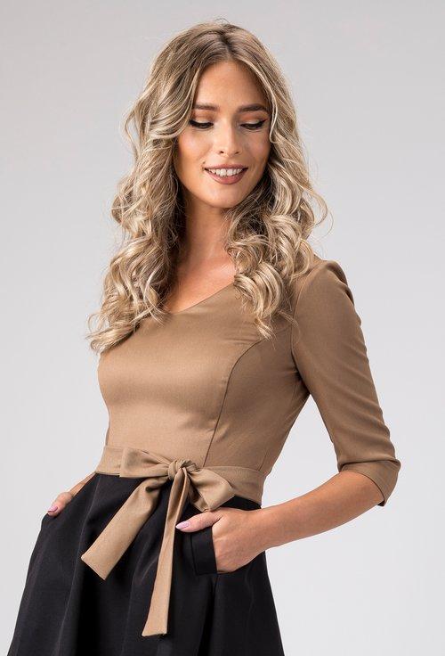 Rochie eleganta maro cu negru cu buzunare Alona