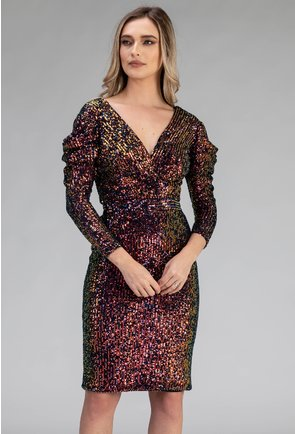 Rochie eleganta multicolora cu paiete