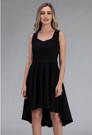 Rochie eleganta neagra asimetrica