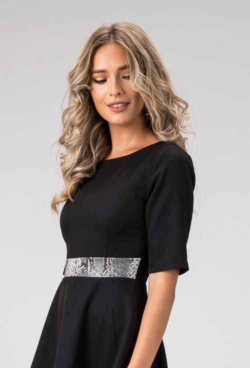 Rochie eleganta neagra cu detaliu snake print Rely