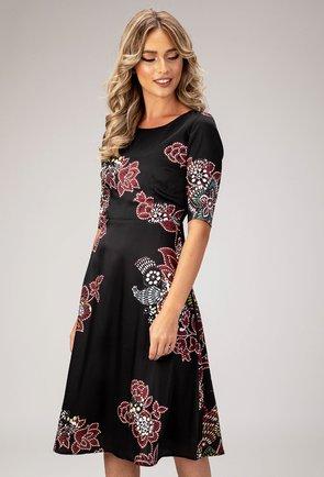 Rochie eleganta neagra cu imprimeu floral Scarlet