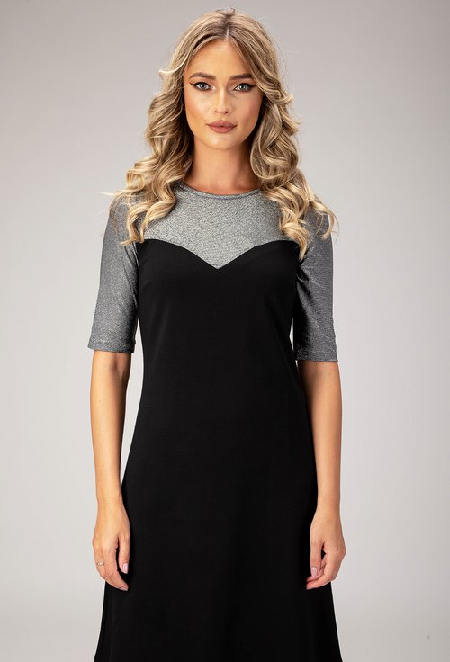 Rochie eleganta neagra cu inseratii argintii Odesa