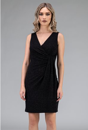 Rochie eleganta neagra cu insertii sclipitoare