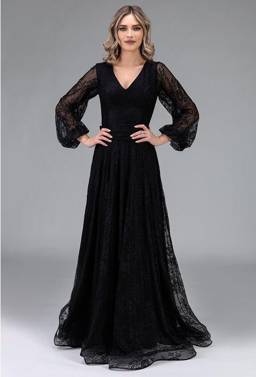 Rochie eleganta neagra cu maneca lunga