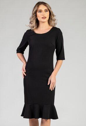 Rochie eleganta neagra cu volan in partea de jos
