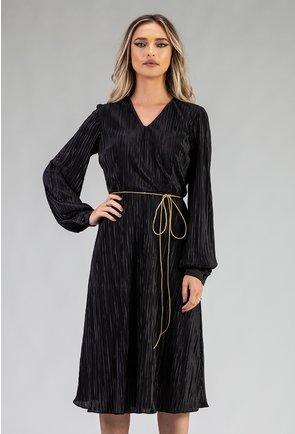 Rochie eleganta neagra din material plisat