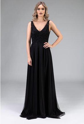 Rochie eleganta neagra lunga cu decolteu in V