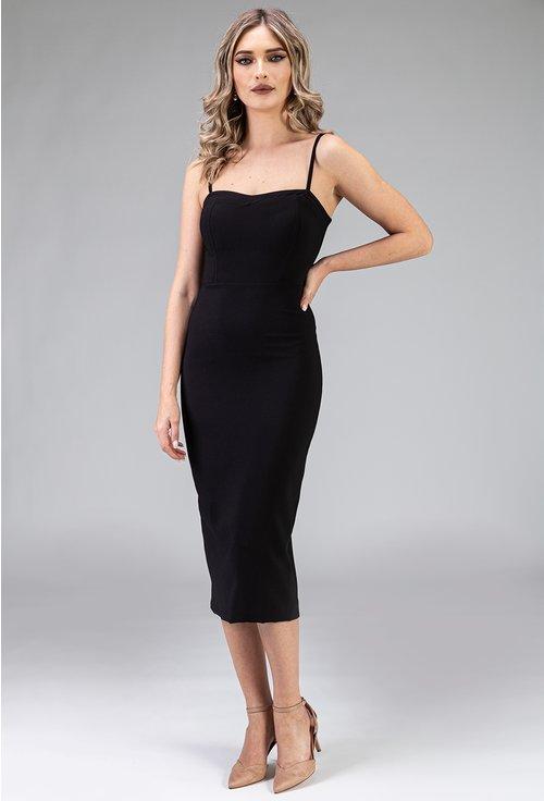 Rochie eleganta neagra mulata pe corp cu bretele