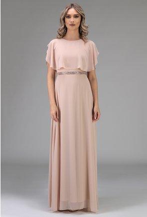 Rochie eleganta nuanta roz pal cu strasuri in zona taliei