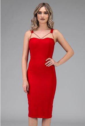 Rochie eleganta rosie cu bretele
