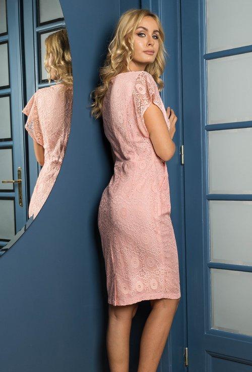 Rochie eleganta roz pudra din dantela Alma
