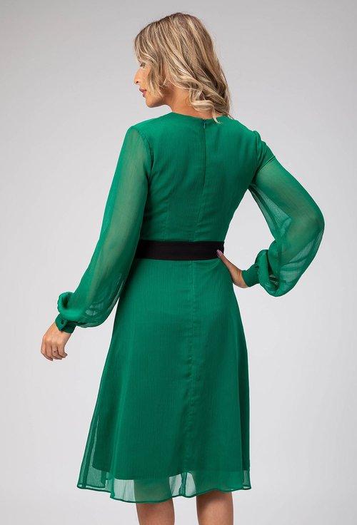 Rochie eleganta verde cu cordon in talie Glama