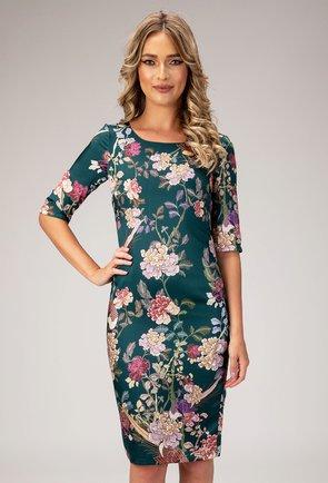 Rochie eleganta verde cu imprimeu floral si pasari Beth