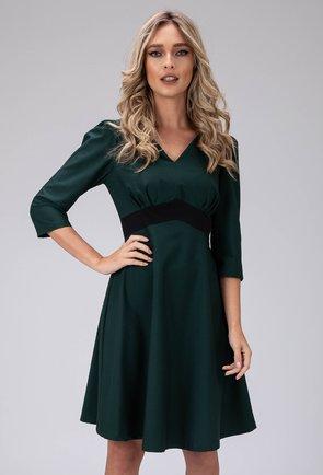 Rochie eleganta verde cu umeri bufanti