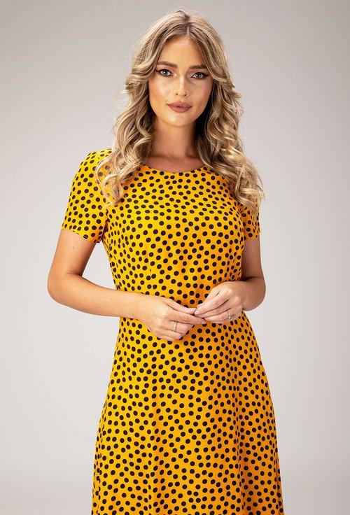 Rochie galbena cu imprimeu cu buline negre Marice
