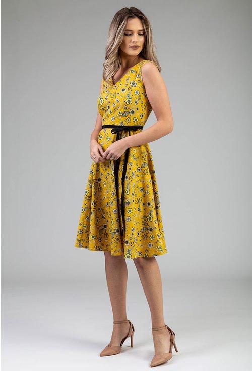 Rochie galbena cu imprimeu floral si cordon