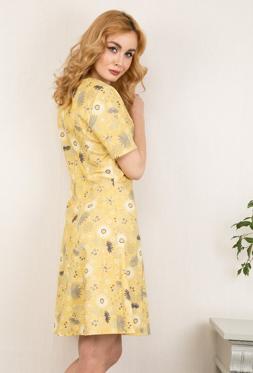Rochie galbena cu imprimeu floral Sunflower