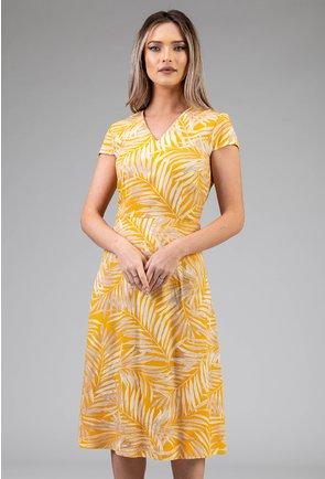 Rochie galbena cu imprimeu vegetal
