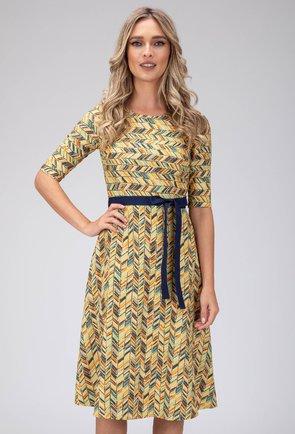 Rochie galbena din bumbac cu imprimeu abstract si cordon