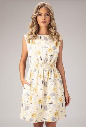 Rochie galbena din bumbac cu imprimeu floral Sun