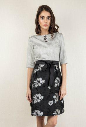 Rochie gri si negru cu imprimeu floral Teri
