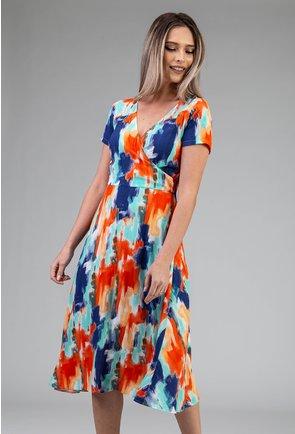 Rochie in nuante de albastru si portocaliu