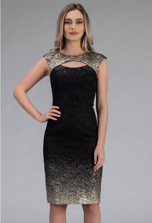 Rochie in nuante de negru si auriu cu detalii dantela