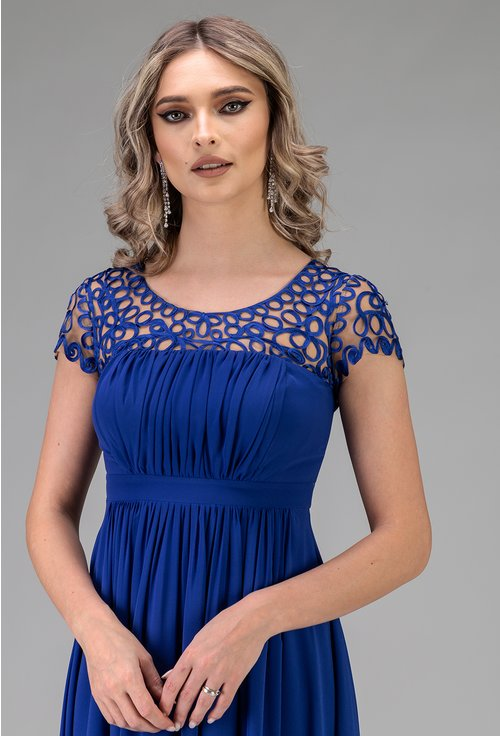 Rochie lunga albastra cu dantela in partea de sus