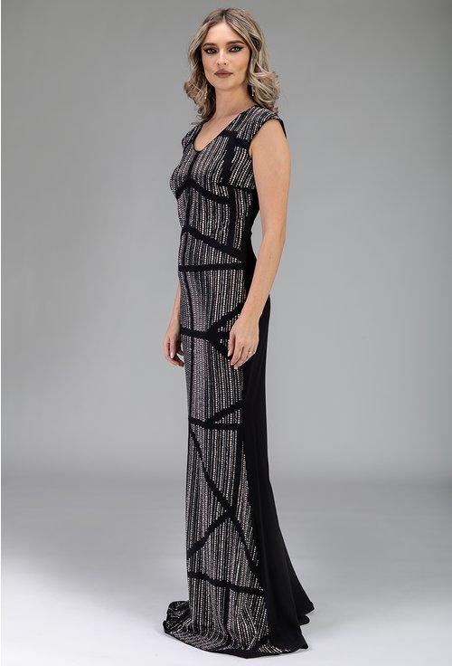 Rochie lunga cu aplicatii strasuri