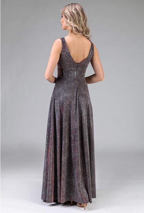 Rochie lunga gri cu reflexii si insertii sclipitoare