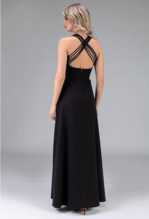 Rochie lunga neagra cu bretele incrucisate la spate