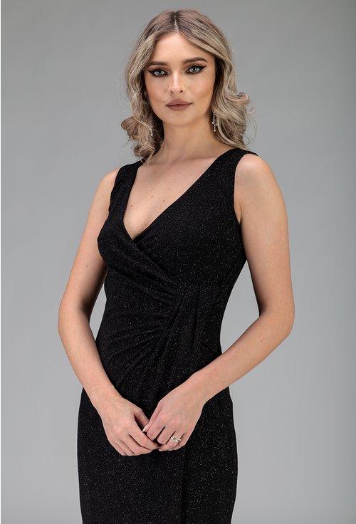 Rochie lunga neagra cu insertii sclipitoare