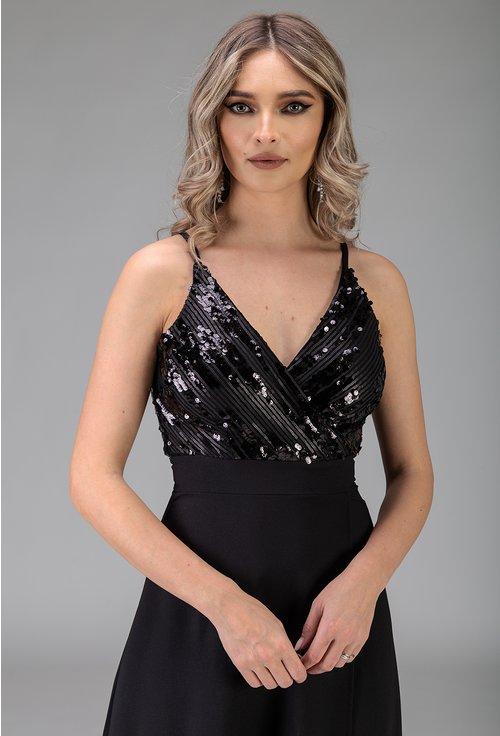 Rochie lunga neagra cu paiete